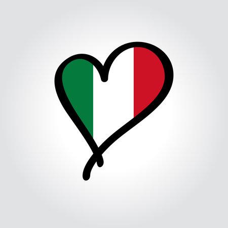 Italian flag heart-shaped hand drawn . Vector illustration. Vettoriali