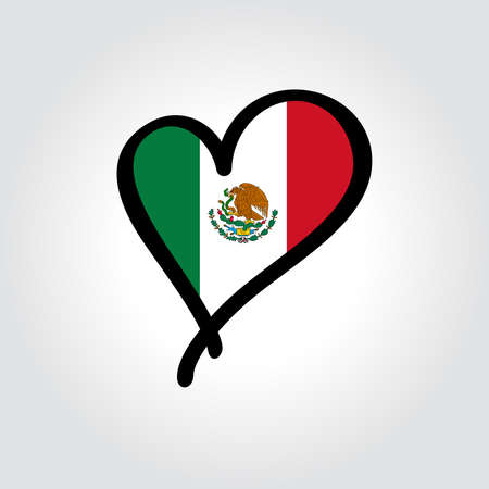 Mexican flag heart-shaped hand drawn . Vector illustration.