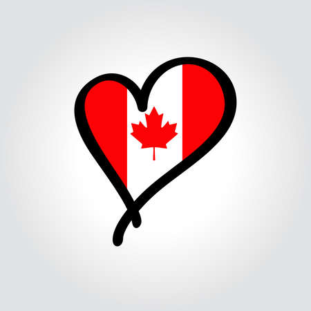 Canadian flag heart-shaped hand drawn . Vector illustration.