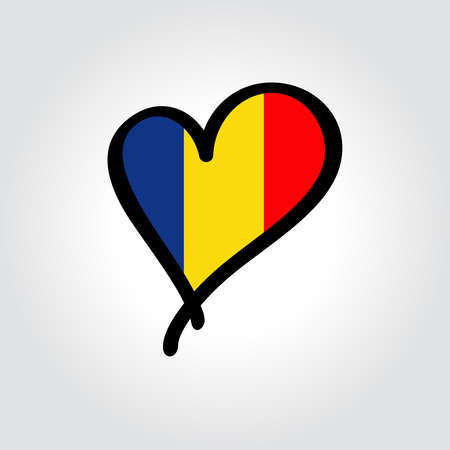 Romanian flag heart-shaped hand drawn . Vector illustration. Vettoriali