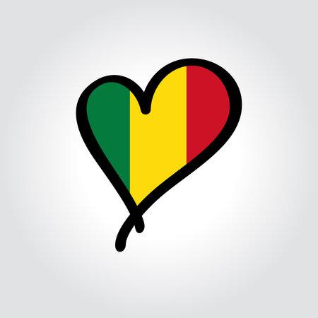 Malian flag heart-shaped hand drawn . Vector illustration.