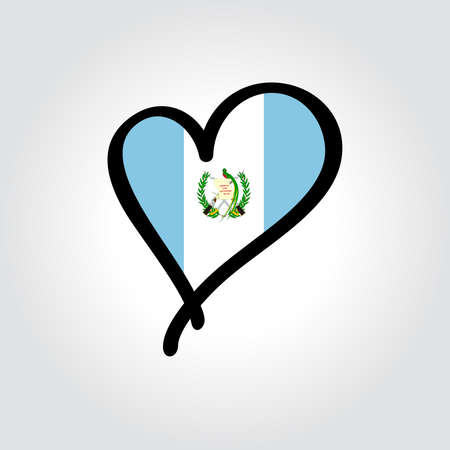 Guatemalan flag heart-shaped hand drawn . Vector illustration.