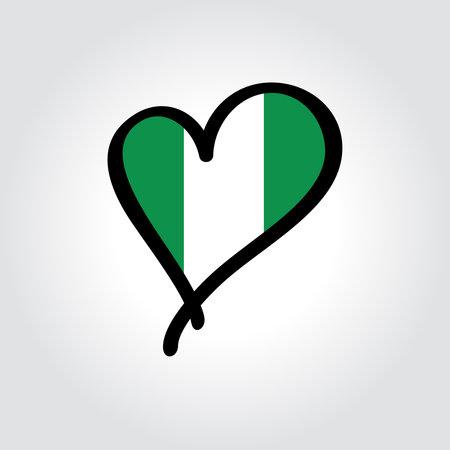 Nigerian flag heart-shaped hand drawn . Vector illustration.