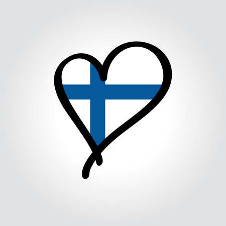 Finnish flag heart-shaped hand drawn . Vector illustration.