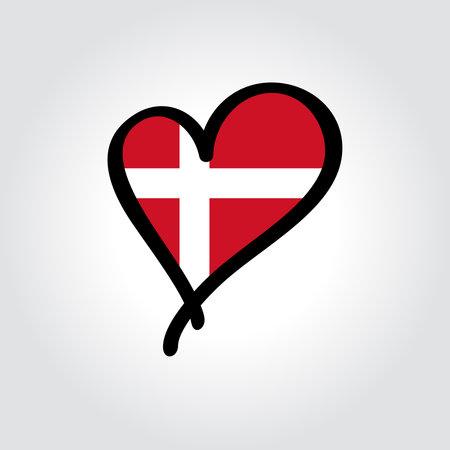 Danish flag heart-shaped hand drawn . Vector illustration.
