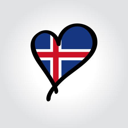 Icelandic flag heart-shaped hand drawn . Vector illustration.