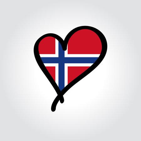 Norwegian flag heart-shaped hand drawn . Vector illustration. Vettoriali