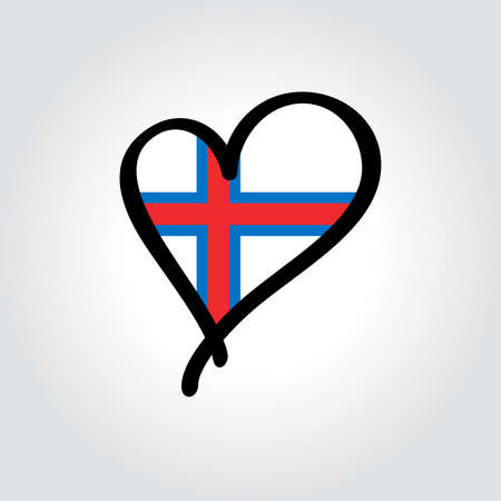 Faroe Islands flag heart-shaped hand drawn . Vector illustration.