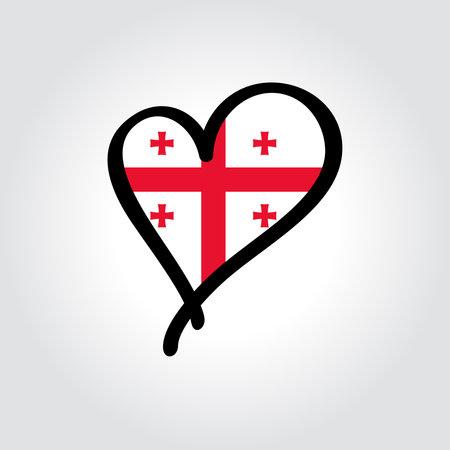 Georgian flag heart-shaped hand drawn . Vector illustration. Vettoriali