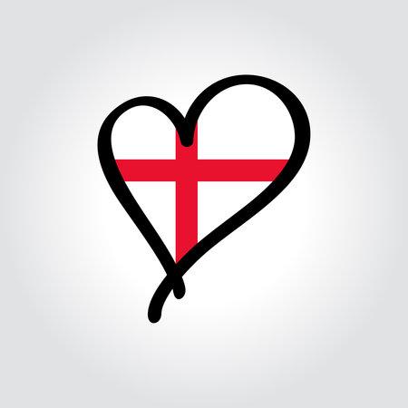 English flag heart-shaped hand drawn . Vector illustration.