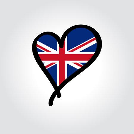 British flag heart-shaped hand drawn . Vector illustration.