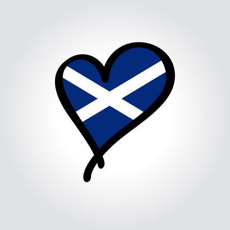 Scottish flag heart-shaped hand drawn . Vector illustration. Vettoriali