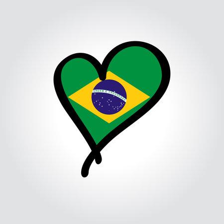 Brazilian flag heart-shaped hand drawn . Vector illustration.