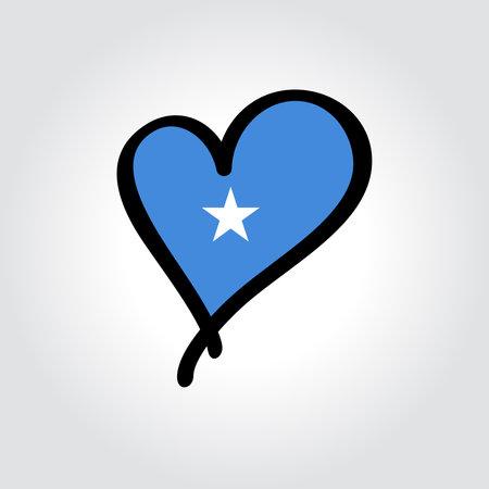 Somalian flag heart-shaped hand drawn . Vector illustration.