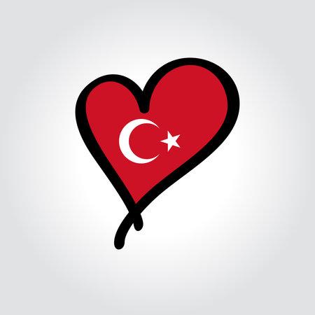 Turkish flag heart-shaped hand drawn . Vector illustration. Illusztráció