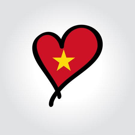 Vietnamese flag heart-shaped hand drawn . Vector illustration.