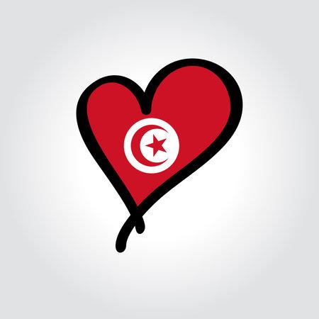 Tunisian flag heart-shaped hand drawn . Vector illustration.