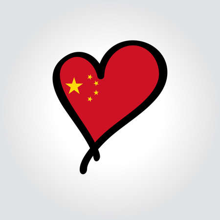Chinese flag heart-shaped hand drawn . Vector illustration.