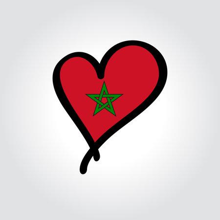 Moroccan flag heart-shaped hand drawn . Vector illustration. Vettoriali