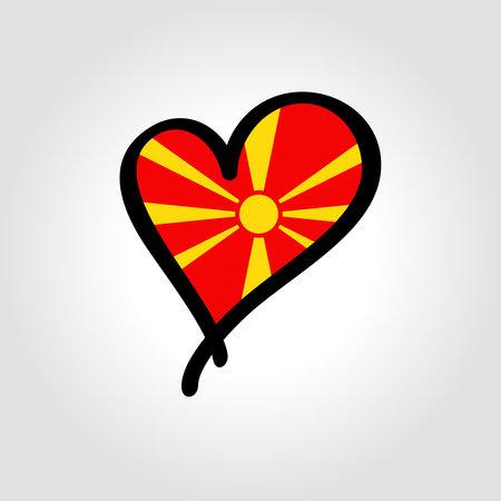 North Macedonian flag heart-shaped hand drawn . Vector illustration. Illusztráció