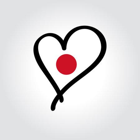 Japanese flag heart-shaped hand drawn . Vector illustration. Vettoriali