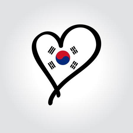 South Korean flag heart-shaped hand drawn . Vector illustration.