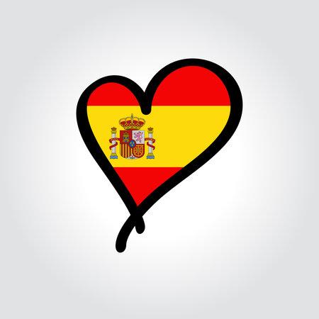 Spanish flag heart-shaped hand drawn . Vector illustration. Vettoriali