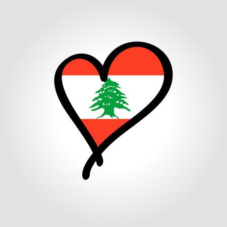 Lebanese flag heart-shaped hand drawn . Vector illustration.