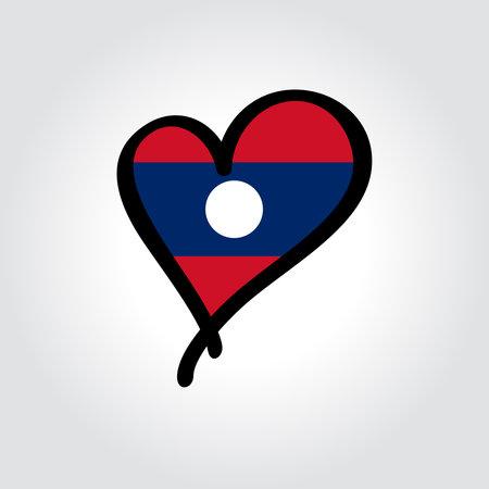 Laotian flag heart-shaped hand drawn . Vector illustration.