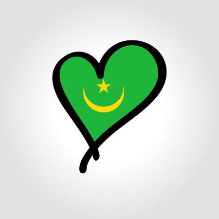 Mauritanian flag heart-shaped hand drawn . Vector illustration.