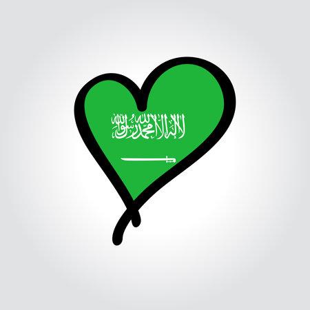 Saudi Arabian flag heart-shaped hand drawn . Vector illustration.