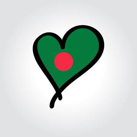 Bangladeshi flag heart-shaped hand drawn . Vector illustration. Vettoriali