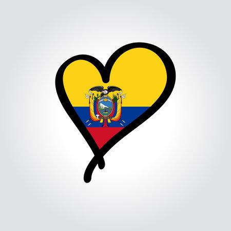 Ecuadorian flag heart-shaped hand drawn . Vector illustration.