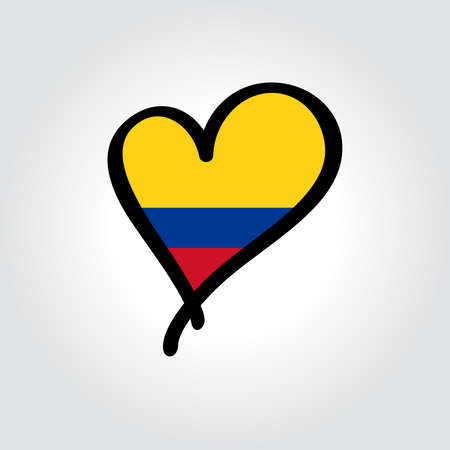 Colombian flag heart-shaped hand drawn . Vector illustration.