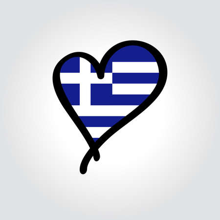 Greek flag heart-shaped hand drawn . Vector illustration. Vettoriali