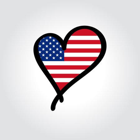 American flag heart-shaped hand drawn . Vector illustration. Vettoriali