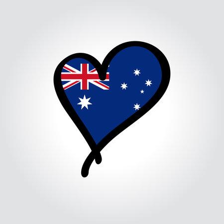 Australian flag heart-shaped hand drawn . Vector illustration. Vettoriali