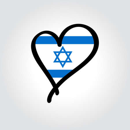 Israeli flag heart-shaped hand drawn . Vector illustration. Vettoriali