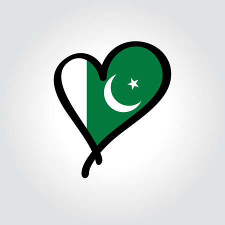 Pakistani flag heart-shaped hand drawn . Vector illustration.