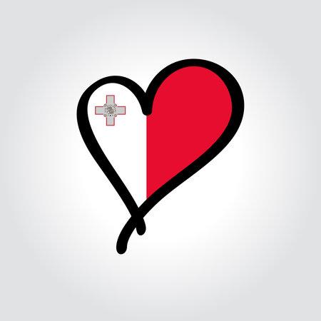 Maltese flag heart-shaped hand drawn . Vector illustration.