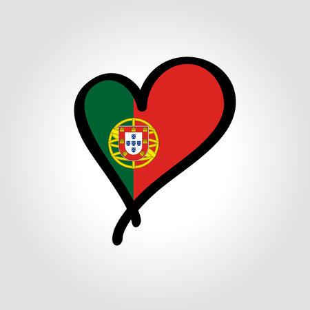 Portuguese flag heart-shaped hand drawn . Vector illustration.