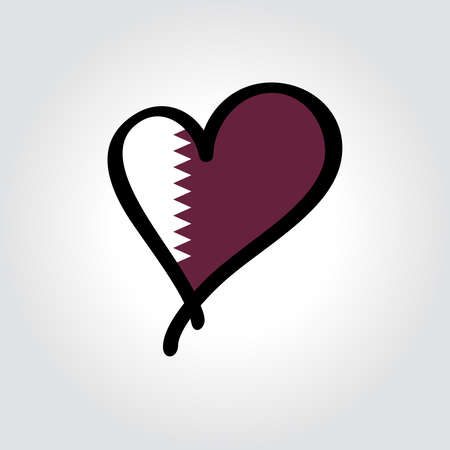 Qatari flag heart-shaped hand drawn . Vector illustration.