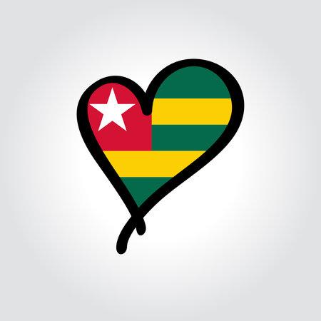 Togolese flag heart-shaped hand drawn . Vector illustration. Vettoriali