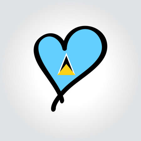 Saint Lucia flag heart-shaped hand drawn . Vector illustration.