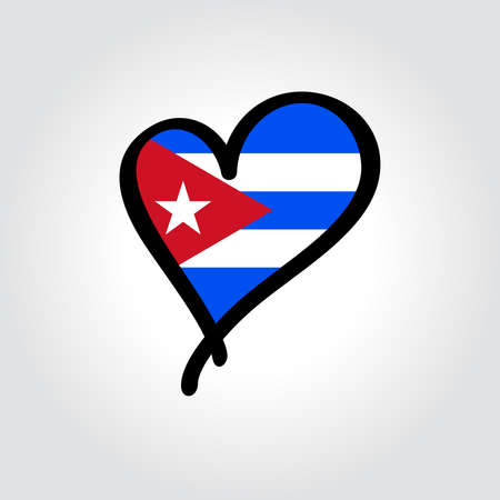 Cuban flag heart-shaped hand drawn . Vector illustration.