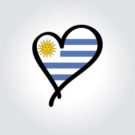 Uruguayan flag heart-shaped hand drawn . Vector illustration.