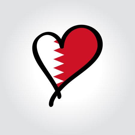 Bahraini flag heart-shaped hand drawn . Vector illustration. Vettoriali