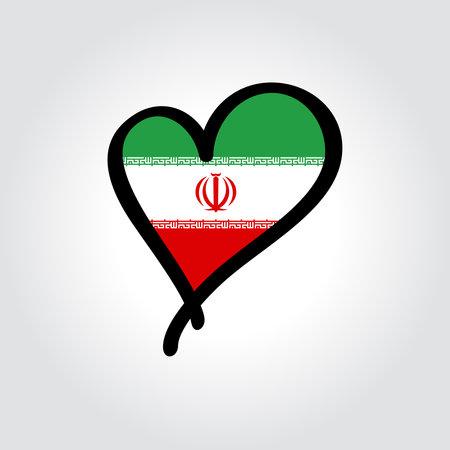 Iranian flag heart-shaped hand drawn . Vector illustration.