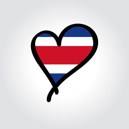 Costa Rican flag heart-shaped hand drawn . Vector illustration.