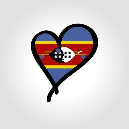 Eswatini flag heart-shaped hand drawn . Vector illustration.